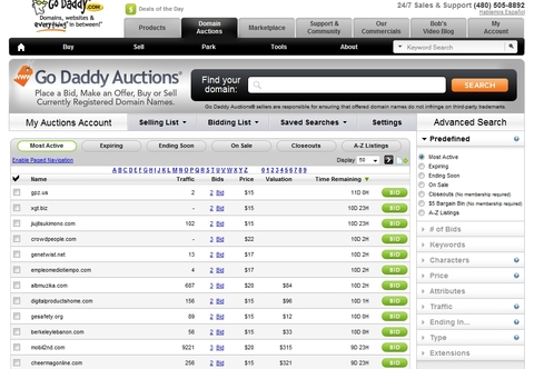 Godaddy Auctions - аукцион доменов