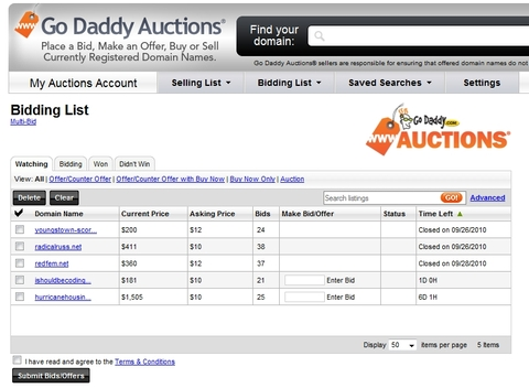 Godaddy Auctions Watching List